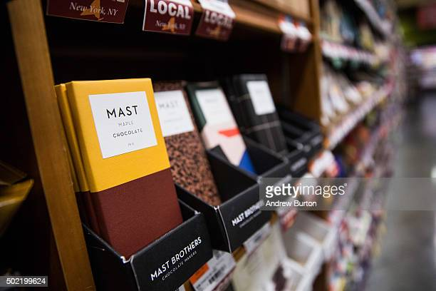 Mast Brothers chocolate sits for sale in a store on December 21 2015 in New York City The chocolate company has recently been accused of using...