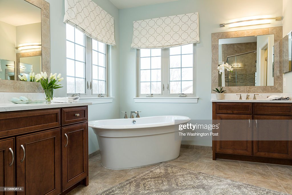 Master Bath in the Lynhurst Model at Hickory Falls on March 1 2016 in Woodbridge Virginia