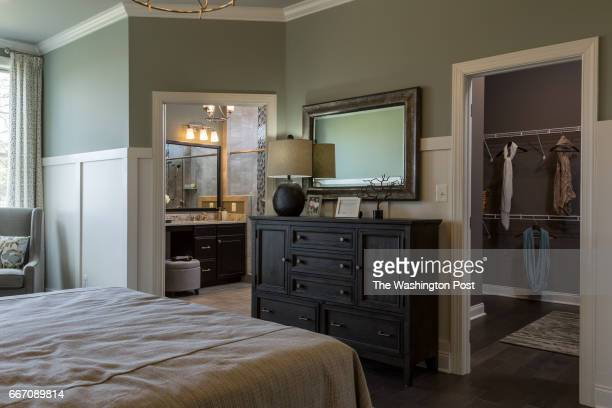 Master Bedroom showing Walk in Closet and Master Bath in the Tradition Model at Regency at Creekside on March 28 2017 in Gainesville Virginia