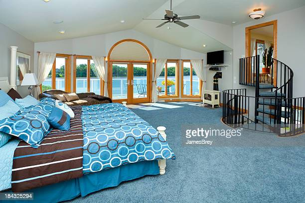 Master Bedroom With Spiral Staircase, Waterfront View