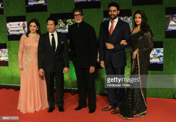 Master blaster Sachin Anjali Tendulkar along with Amitabh Bachchan Abhishek Bachchan and Aishwarya Rai Bachchan during the premier of his biopic...