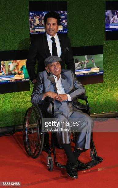 Master blaster Sachin Tendulkar with his mentor Ramakant Achrekar during the screening of 'Sachin A Billion Dreams' film at PVR on May 24 2017 in...
