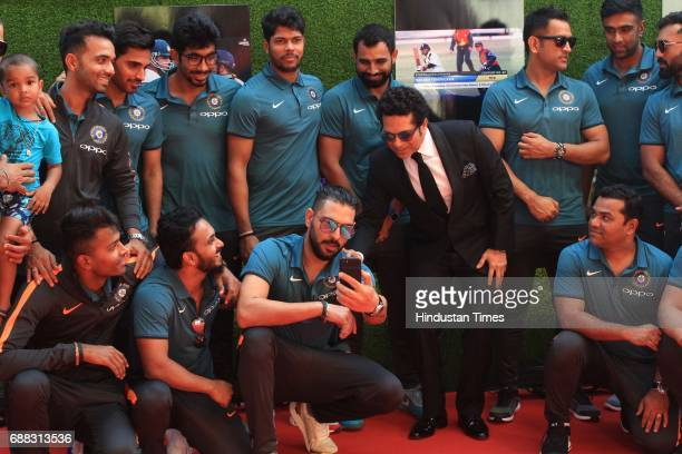 Master Blaster Sachin Tendulkar with the Indian cricket team during the screening of 'Sachin A Billion Dreams' film at PVR on May 24 2017 in Mumbai...