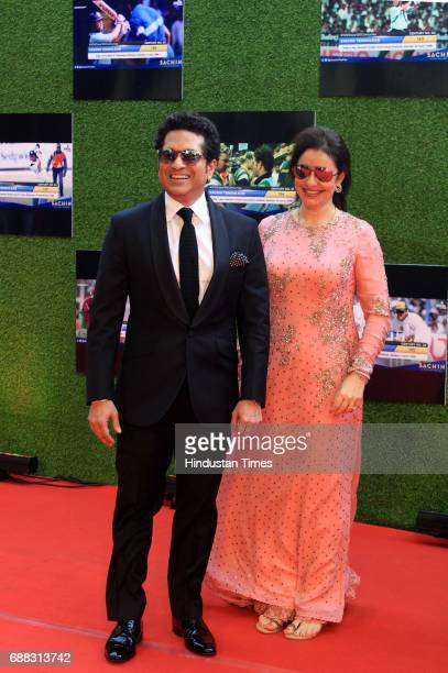 Master Blaster Sachin Tendulkar with wife Anjali Tendulkar during the screening of 'Sachin A Billion Dreams' film at PVR on May 24 2017 in Mumbai...