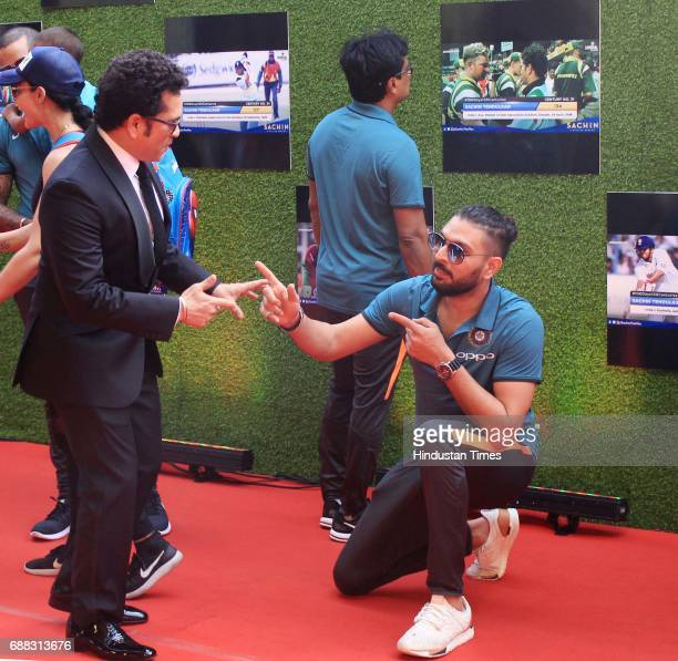 Master Blaster Sachin Tendulkar with Yuvraj Singh during the screening of 'Sachin A Billion Dreams' film at PVR on May 24 2017 in Mumbai India...