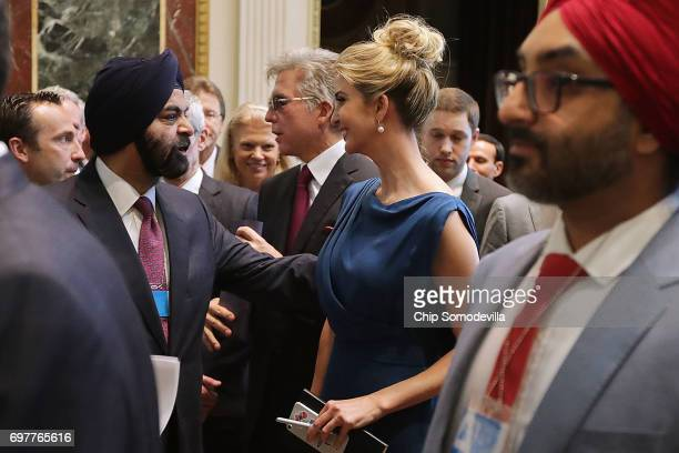 Master Card CEO Ajay Banga talks with Ivanka Trump during the inaugural meeting of the American Technology Council during the inaugural meeting of...