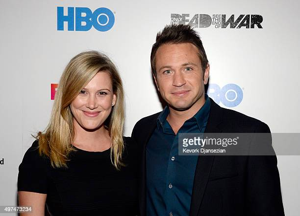 Master Chef Justine Schofield of Everday Gourmet and television host Matt Doran of Crime Watch Daily pose during screening of the FoxTel and HBO's...