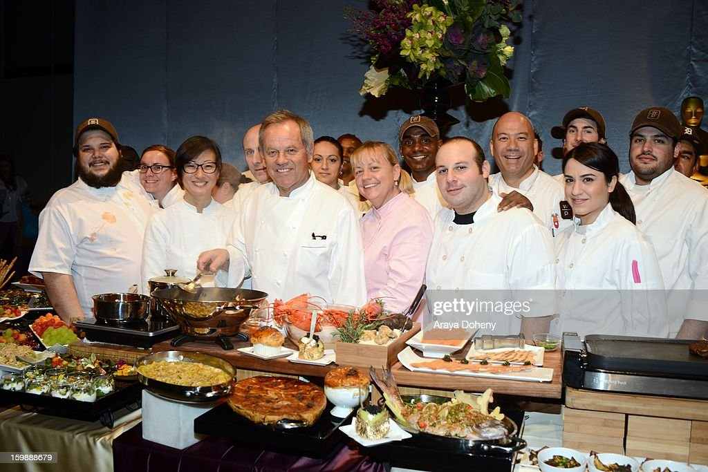 Master chef Wolfgang Puck (C) and Wolfgang Puck executive pastry chef Sherry Yard (next to Wolfgang) at the preview of the food and decor of this year's 'Governors Ball', the celebration immediately following the Oscars at The Ray Dolby Ballroom at Hollywood & Highland Center on January 22, 2013 in Hollywood, California.