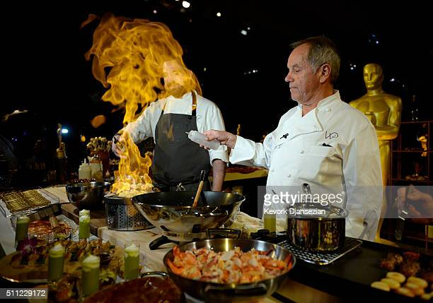 Master chef Wolfgang Puck prepares samples from the menu for display during the 88th Annual Academy Awards Governors Ball press preview at The Ray...