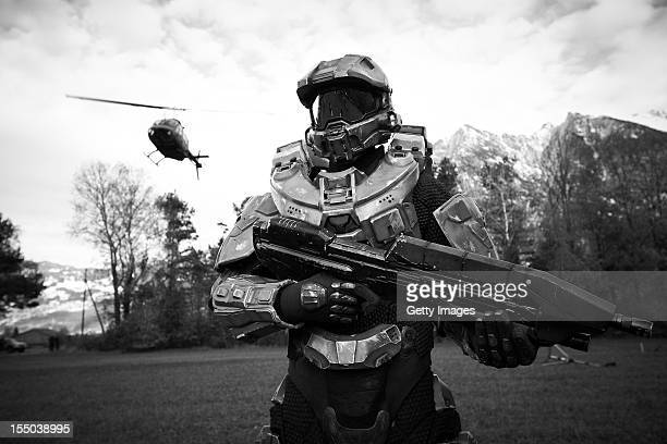 Master Chief stands guard during the HALO 4 launch by Xbox 360 on October 30 2012 in Balzers Liechtenstein Xbox 360 became the only brand to ever...