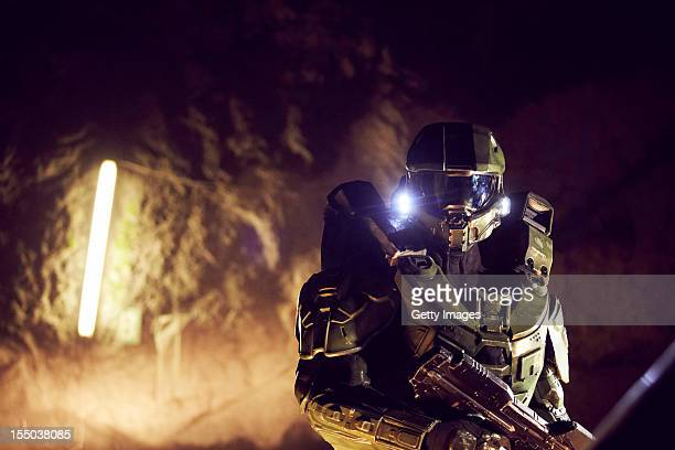 Master Chief walks through the mine during the HALO 4 launch by Xbox 360 on October 29 2012 in Balzers Liechtenstein Xbox 360 became the only brand...