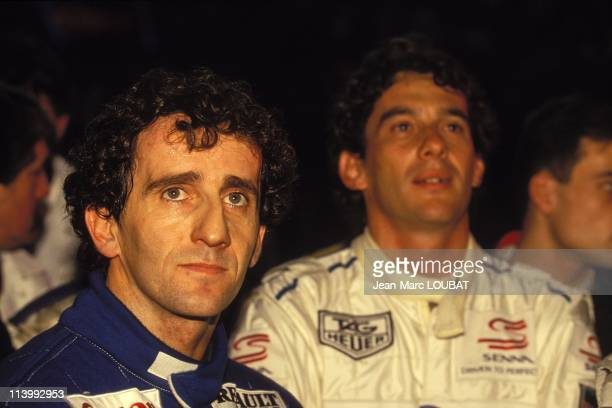 Master karting indoor in Bercy in Paris France on December 19 1993Alain Prost and Ayrton Senna