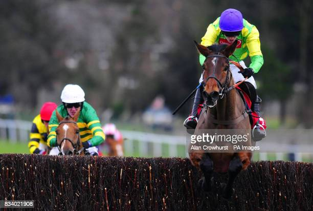Master Minded and Ruby Walsh jump the last to win The Free 25 Bet partybetscom Chase at Sandown Park Racecourse Surrey