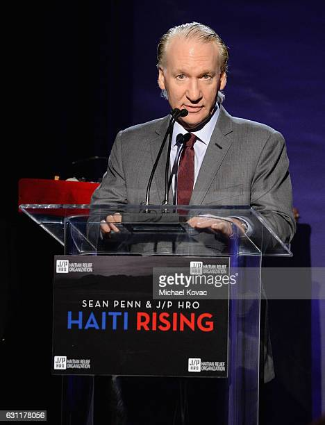 Master of ceremonies Bill Maher speaks onstage during the 6th Annual Sean Penn Friends HAITI RISING Gala Benefiting J/P Haitian Relief Organizationat...