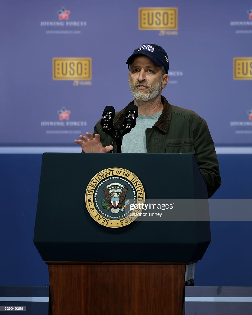 Master of Ceremonies Jon Stewart greets the audience at the 75th Anniversary USO Show on May 5 2016 at Joint Base Andrews in Camp Springs Maryland