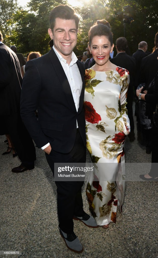 Master of Ceremonies Max Greenfield (L) and Tess Sanchez inside the 13th Annual Chrysalis Butterfly Ball sponsored by Audi, Kayne Anderson and Stella Artois on June 7th, 2014 in Los Angeles, California.