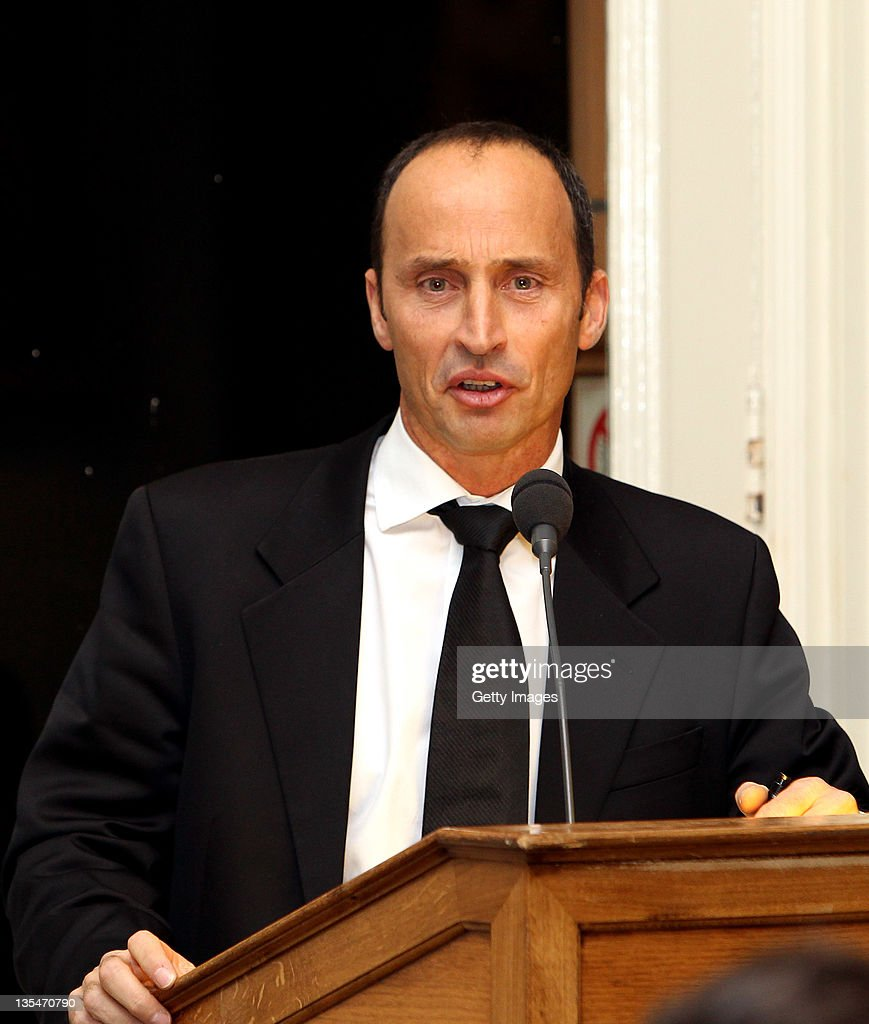 Master of Ceremonies <a gi-track='captionPersonalityLinkClicked' href=/galleries/search?phrase=Nasser+Hussain&family=editorial&specificpeople=171724 ng-click='$event.stopPropagation()'>Nasser Hussain</a> addresses the audience during the ECB Awards at Lords on December 10, 2011 in London, England.