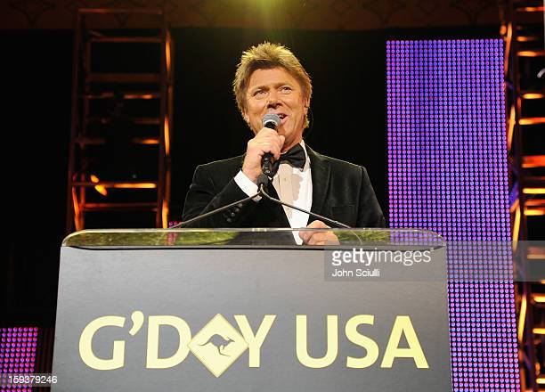 Master of Ceremonies Richard Wilkins speaks onstage during the 2013 G'Day USA Los Angeles Black Tie Gala at JW Marriott Los Angeles at LA LIVE on...