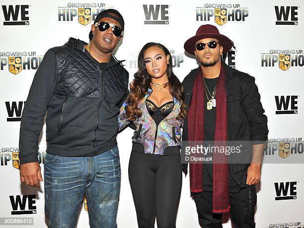 Master P Cymphonique Miller and Romeo Miller attend as WE tv Celebrates The Premiere Of New Series Growing Up Hip Hop on December 10 2015 in New York...
