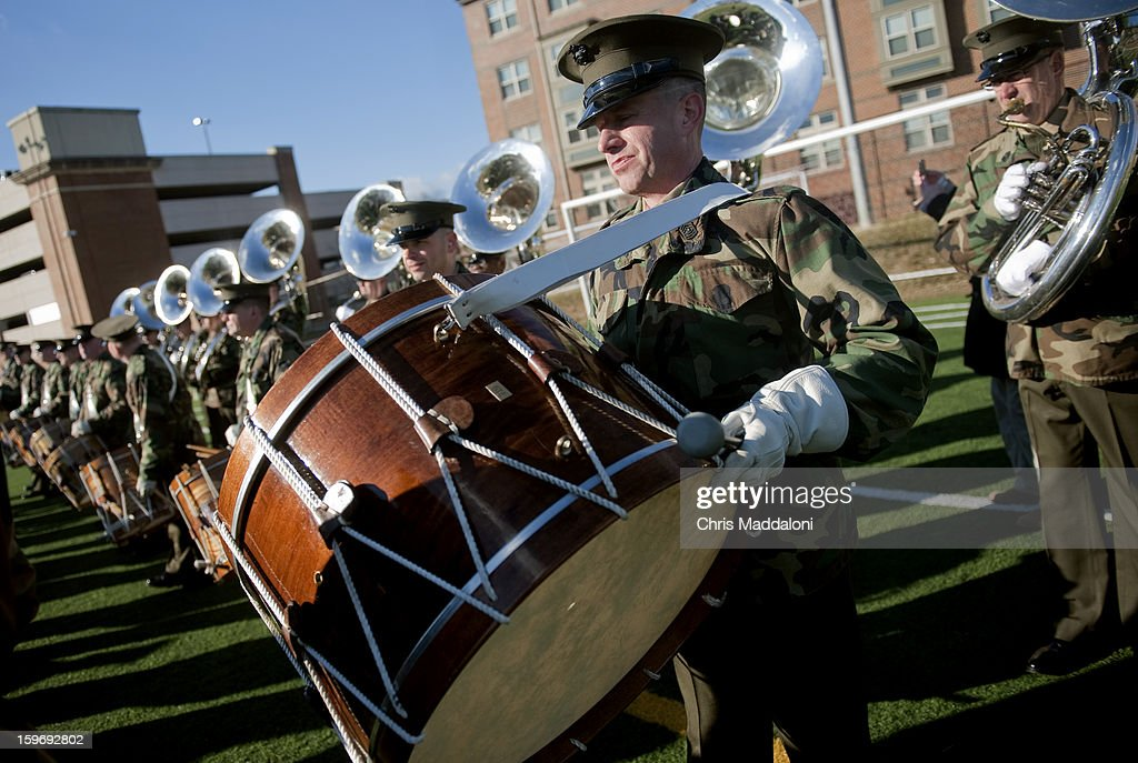 "Master Sgt. David Murray prepares his bass drum as 'The President's Own"" United States Marine Band rehearse for the 2013 inaugural swearing-in ceremony and parade at the John Philip Sousa Band Hall at the Marine Barracks Annex in Washington, D.C. This is the Marine Band's 54th inauguration of 57 presidential inaugurations. The band made its inaugural debut in 1801 for Thomas Jefferson, the first president inaugurated in Washington, D.C"