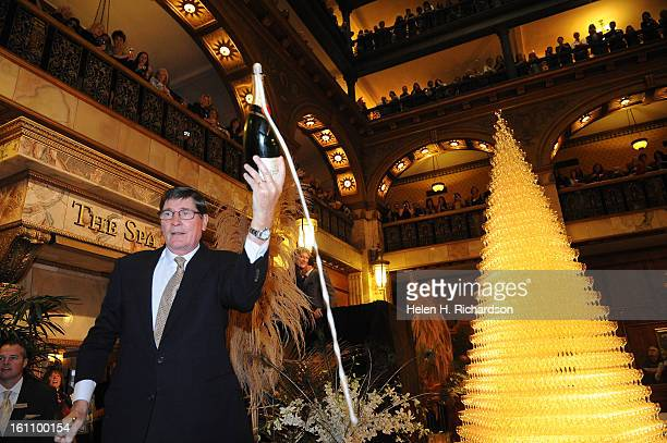 Master Swordsman Bernard Ganter severs the neck off a magnum bottle of champagne The 23rd Champagne Cascade held each year at the Brown Palace Hotel...