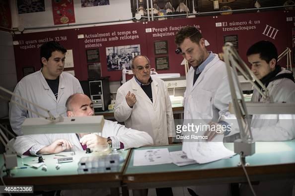 Master watchmaker Josep Matas 63 teaches his students during a class at the secondary school Mare de Deu de la Merce on March 10 2015 in Barcelona...
