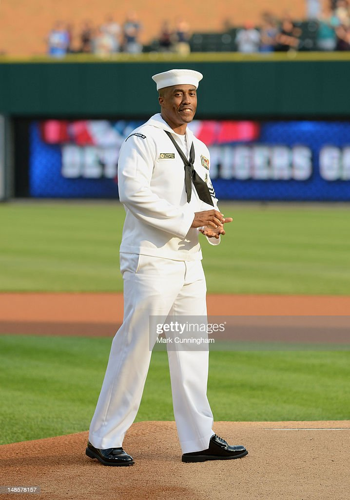 Master-At-Arms First Class Petty Officer Robert Campbell of the United States Navy stands on the pitchers mound during a pre-game ceremony before the game between the Kansas City Royals and the Detroit Tigers at Comerica Park on July 6, 2012 in Detroit, Michigan. The Tigers defeated the Royals 4-2.