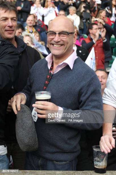 Masterchef presenter Gregg Wallace in the stands at the QBE International at Twickenham London