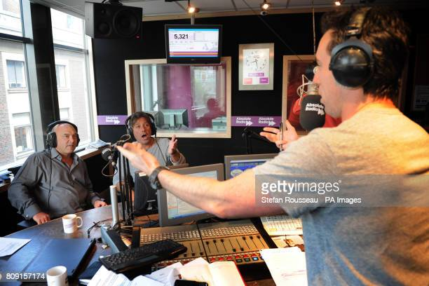 MasterChef presenters Gregg Wallace and John Torode with Absolute Radio breakfast show presenter Christian O'Connell during his show this morning