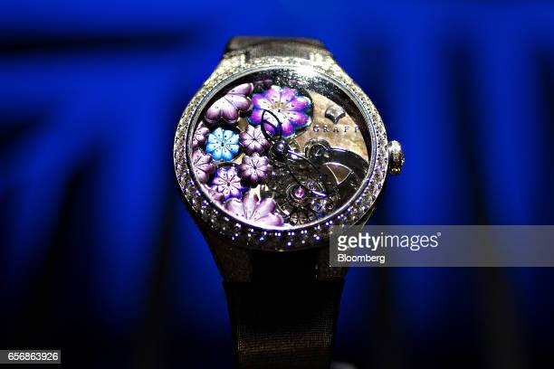 A MasterGraff Floral tourbillon model luxury wristwatch produced by Graff Diamonds Corp stands on display during the 2017 Baselworld luxury watch and...