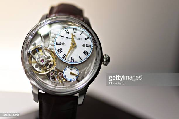 A Masterpiece Gravity model luxury wristwatch produced by Maurice Lacroix SA stands on display during the 2017 Baselworld luxury watch and jewelry...