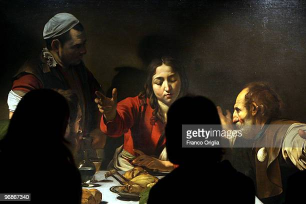 Masterpiece of Caravaggio 'Supper At Emmaus' is shown at the Scuderie Del Quirinale during the 'Caravaggio' opening Exibithion on February 19 2010 in...