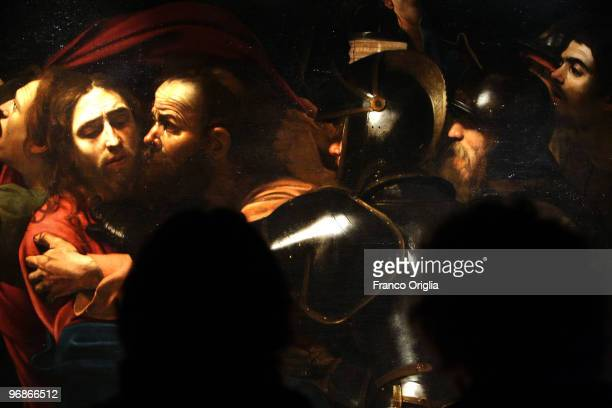 Masterpiece of Caravaggio 'The Taking of Christ' is shown at the Scuderie Del Quirinale during the 'Caravaggio' opening Exibithion on February 19...