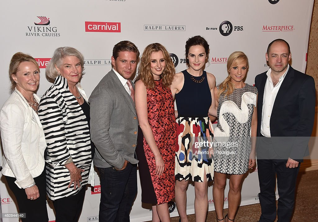 Masterpiece producer Susanne Simpson, Masterpiece executive producer Rebecca Eaton, actors Allen Leech, Laura Carmichael, Michelle Dockery, Joanne Froggatt and executive producer Gareth Neame attend the 2014 Summer TCA Tour 'Downton Abbey' Season 5 photocall at The Beverly Hilton Hotel on July 22, 2014 in Beverly Hills, California.