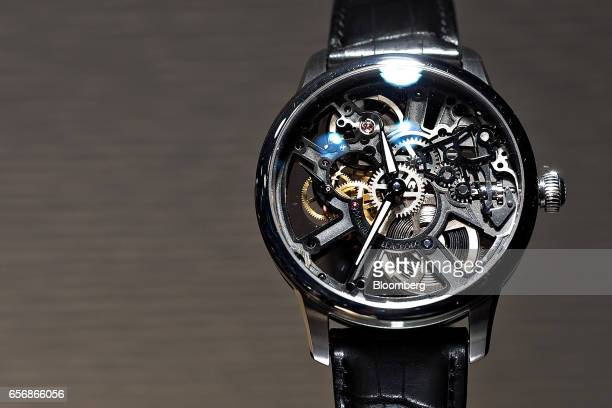 A Masterpiece Skeleton model luxury wristwatch produced by Maurice Lacroix SA stands on display during the 2017 Baselworld luxury watch and jewelry...
