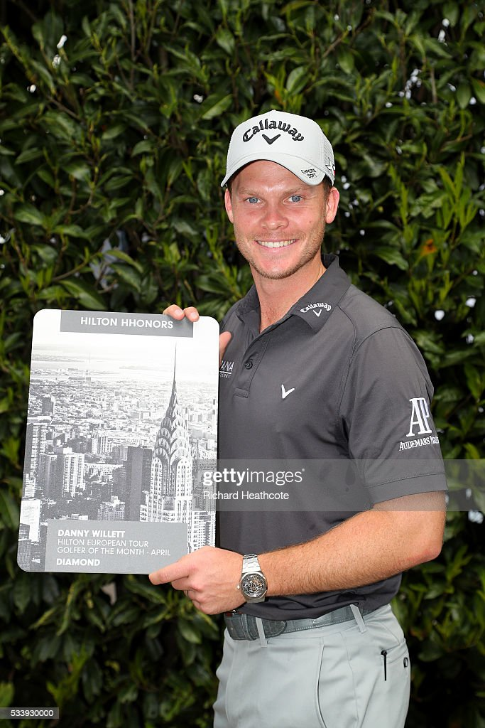 US Masters champion <a gi-track='captionPersonalityLinkClicked' href=/galleries/search?phrase=Danny+Willett&family=editorial&specificpeople=4488861 ng-click='$event.stopPropagation()'>Danny Willett</a> of England is presented with the Hilton European Tour Golfer of the Month award for April during a practise round for the BMW PGA Championship at Wentworth on May 24, 2016 in Virginia Water, England.