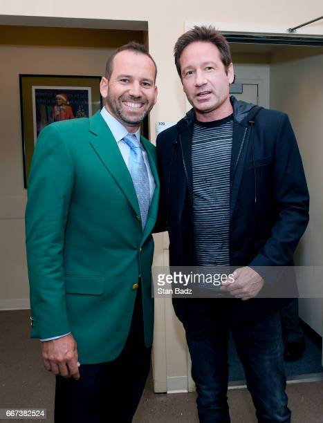 Master's Champion Sergio Garcia and actor David Duchovny pose for a photo during the Master's winner media tour throughout New York City on April 11...