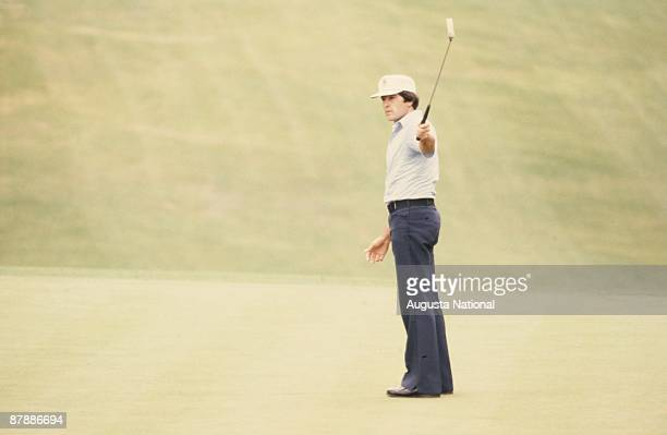 Masters Champion Seve Ballesteros watches his putt during the 1980 Masters Tournament at Augusta National Golf Club in April 13th 1980 in Augusta...