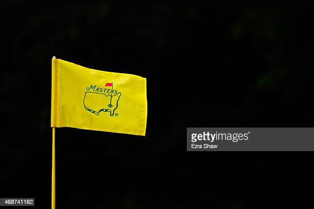 Masters flag blows in the breeze during a practice round prior to the start of the 2015 Masters Tournament at Augusta National Golf Club on April 6...