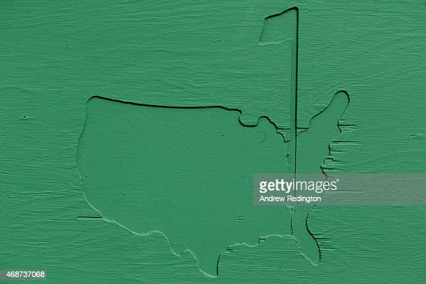 Masters logo is seen during a practice round prior to the start of the 2015 Masters Tournament at Augusta National Golf Club on April 6 2015 in...