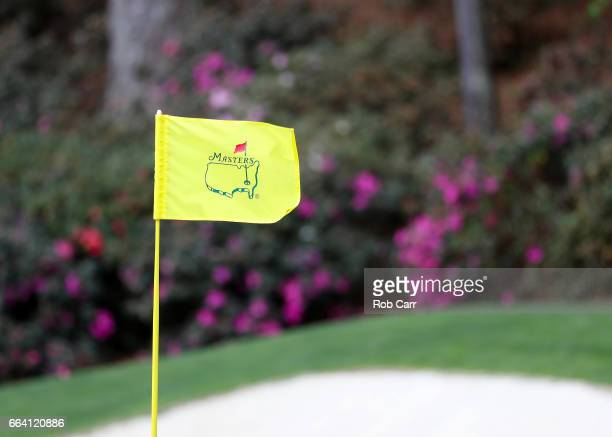 Masters pin flag is displayed during a practice round prior to the start of the 2017 Masters Tournament at Augusta National Golf Club on April 3 2017...