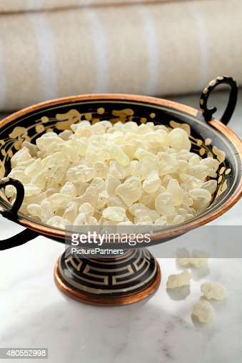 Mastic tears of Chios in a bowl : Stock Photo