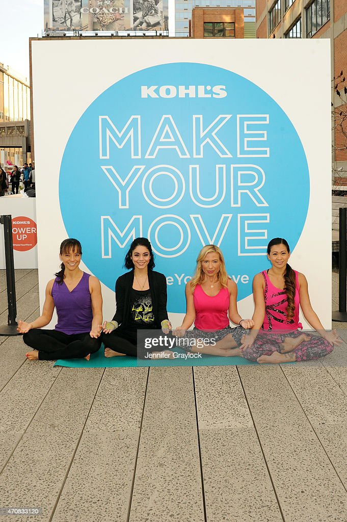 Masumi Goldman of Two Fit Moms actress Vanessa Hudgens celebrity trainer Tracy Anderson and Laura Kasperzak of Two Fit Moms attend the Kohl's...