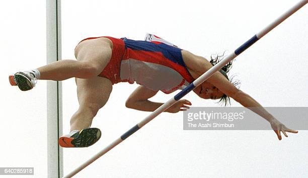 Masumi Ono competes in the Women's Pole Vault during the Gunma Relay Carnival at Gunma Prefecture Athletic Stadium on April 24 1999 in Maebashi Gunma...