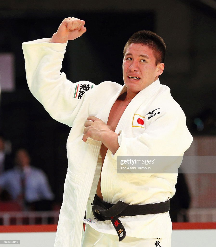 Masyu Beiker of Japan reacts after winning the men's -90kg final on the day three of IJF Judo Grand Slam at Tokyo Metropolitan Gymnasium on December 1, 2013 in Tokyo, Japan.
