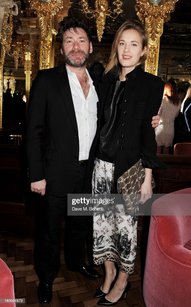 Mat Colishaw (L) and Polly Morgan attend the AnOther Magazine and Dazed & Confused party with Belvedere Vodka at the Cafe Royal hotel on February 18, 2013 in London, England.