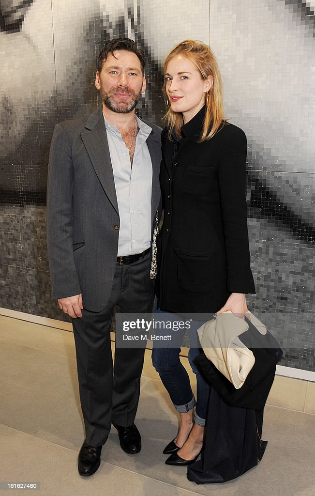 Mat Collishaw (L) and Polly Morgan attend a private view of 'Mat Collishaw: This Is Not An Exit' at Blaine/Southern Gallery on February 13, 2013 in London, England.