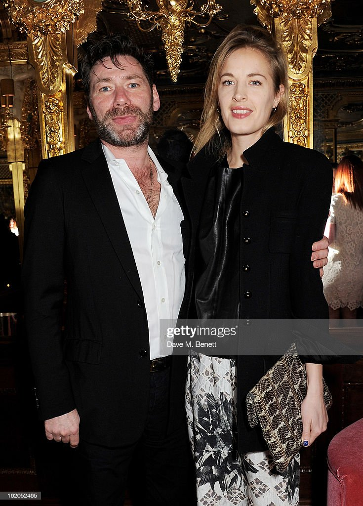 Mat Collishaw (L) and Polly Morgan attend the AnOther Magazine and Dazed & Confused party with Belvedere Vodka at the Cafe Royal hotel on February 18, 2013 in London, England.