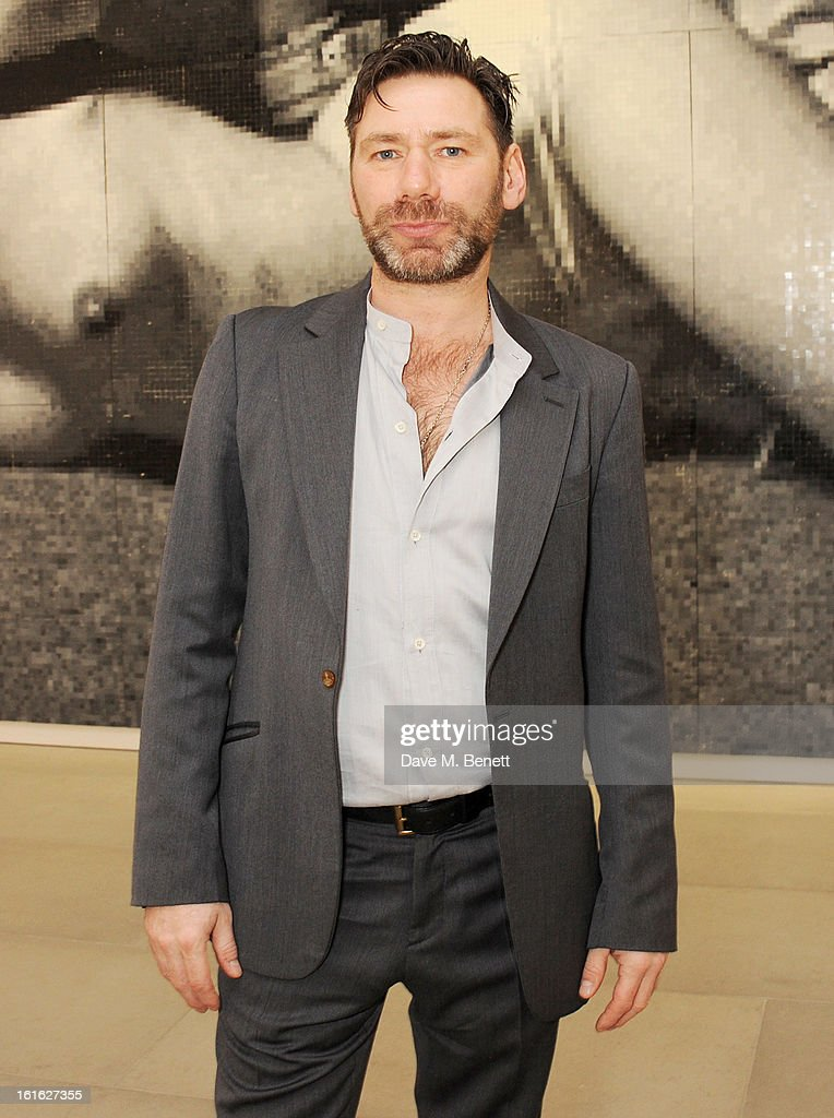 Mat Collishaw attends a private view of 'Mat Collishaw: This Is Not An Exit' at Blaine/Southern Gallery on February 13, 2013 in London, England.