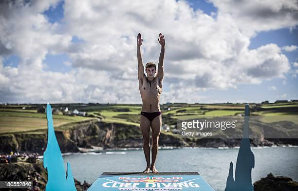 Mat Cowen of the UK prepares to dive from the 27 metre platform at the Blue Lagoon during the sixth stop of the Red Bull Cliff Diving World Series on...